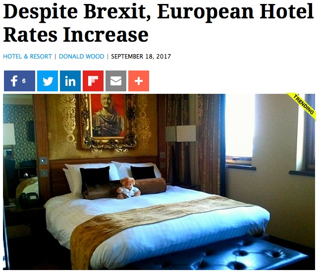 Hotel rate trends in key vacation cities since the Brexit vote